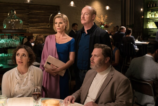 "(Standing L-R) JULIE BOWEN as Marcie and MATT WALSH as Dan in New Line Cinema's comedy ""LIFE OF THE PARTY,"" a Warner Bros. Pictures' release."