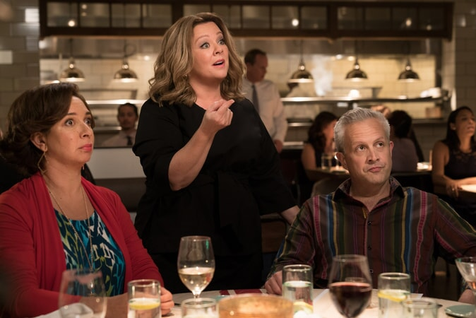 "(L-R) MAYA RUDOLPH as Christine, MELISSA McCARTHY as Deanna and DAMON JONES as Frank in New Line Cinema's comedy ""LIFE OF THE PARTY,"" a Warner Bros. Pictures' release."