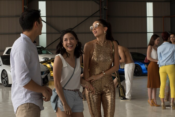 "(L-R) HENRY GOLDING as Nick, CONSTANCE WU as Rachel and SONOYA MIZUNO as Araminta in Warner Bros. Pictures' and SK Global Entertainment's contemporary romantic comedy ""CRAZY RICH ASIANS,"" a Warner Bros. Pictures release."
