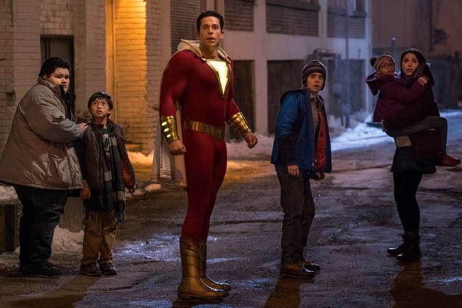 (L-r) JOVAN ARMAND as Pedro Pena, IAN CHEN as Eugene Choi, ZACHARY LEVI as Shazam, JACK DYLAN GRAZER as Freddy Freeman, FAITHE HERMAN as Darla Dudley and GRACE FULTON as Mary Bromfiels