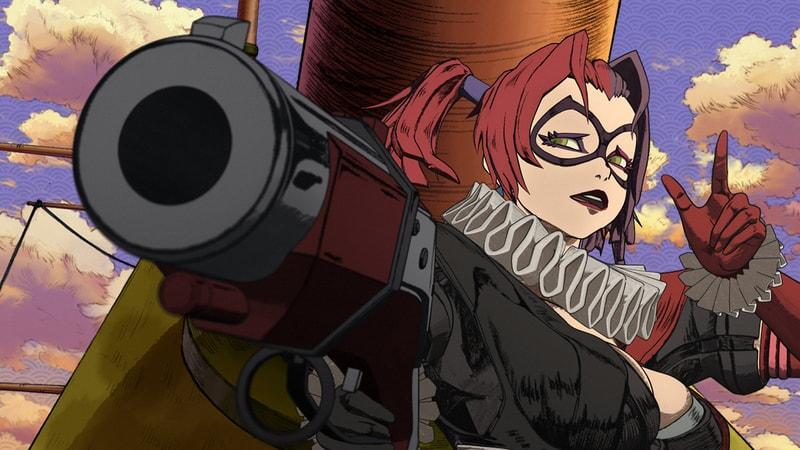 harley quinn with a cannon in batman ninja