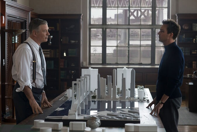 MOTHERLESS BROOKLYN: (L-R) ALEC BALDWIN as Moses Randolph and EDWARD NORTON as Lionel Essrog
