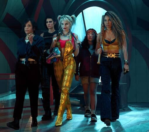 "(L-r) ROSIE PEREZ as Renee Montoya, MARY ELIZABETH WINSTEAD as Huntress, MARGOT ROBBIE as Harley Quinn, ELLA JAY BASCO as Cassandra Cain and JURNEE SMOLLETT-BELL as Black Canary in Warner Bros. Pictures' ""BIRDS OF PREY (AND THE FANTABULOUS EMANCIPATION OF ONE HARLEY QUINN),"""