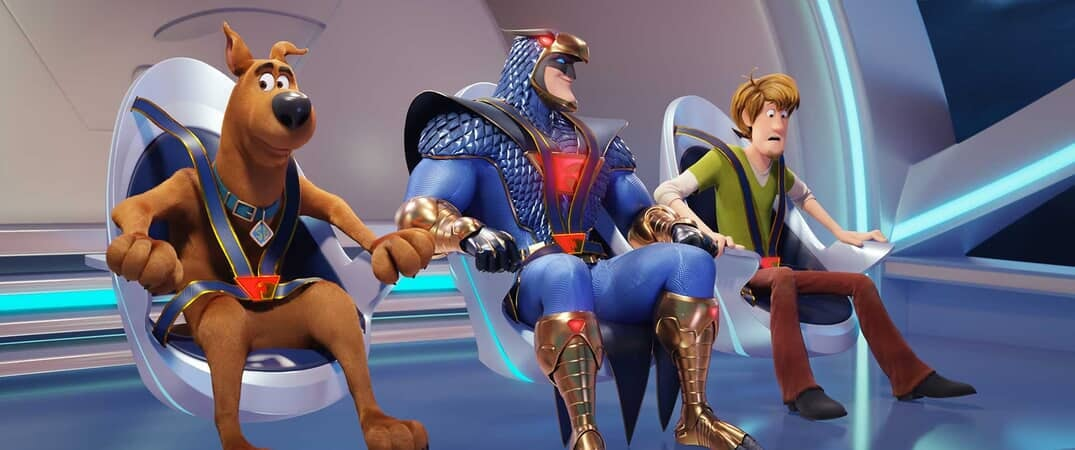 "(L-r) Scooby-Doo voiced by FRANK WELKER, Blue Falcon voiced by MARK WAHLBERG and Shaggy voiced by WILL FORTE and in the new animated adventure ""SCOOB!"""