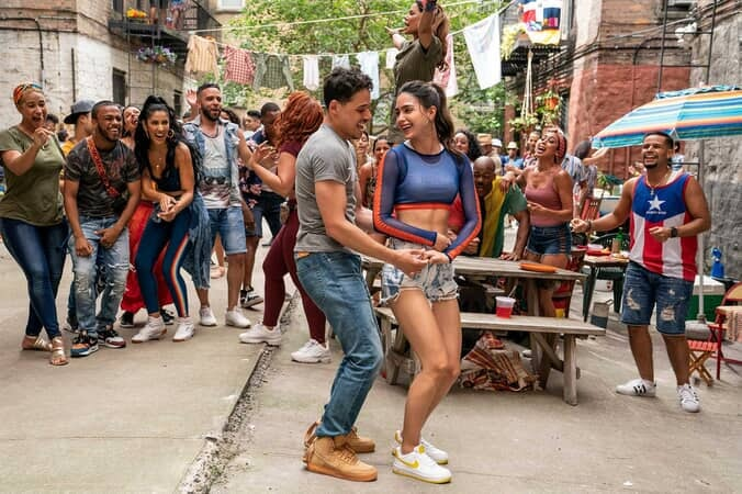 "ANTHONY RAMOS as Usnavi and MELISSA BARRERA as Vanessa in Warner Bros. Pictures' ""IN THE HEIGHTS."""