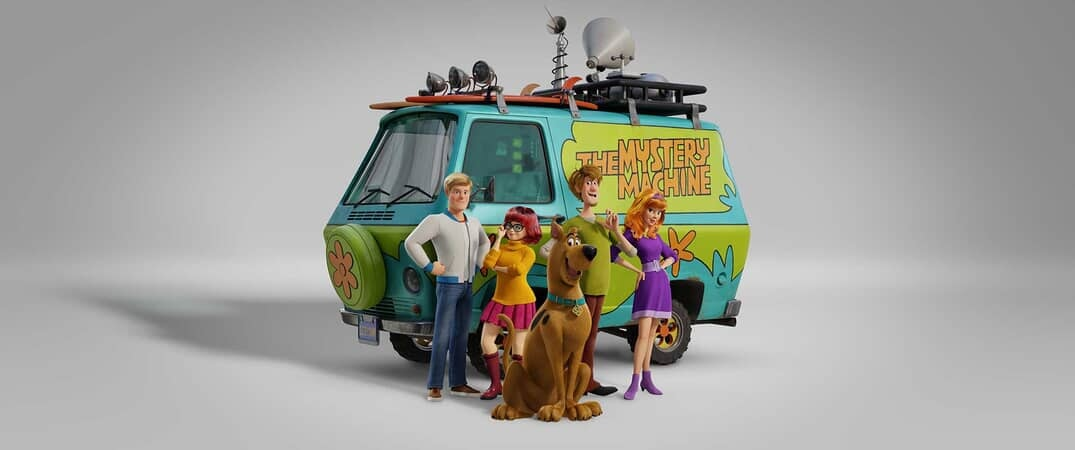 "(L-r) Fred voiced by ZAC EFRON, Velma voiced by GINA RODRIGUEZ, Scooby-Doo voiced by FRANK WELKER, Shaggy voiced by WILL FORTE and Daphne voiced by AMANDA SEYFRIED in the new animated adventure ""SCOOB!"""