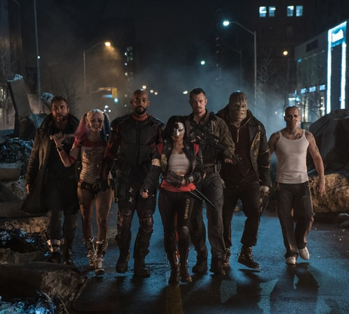JAI COURTNEY as Boomerang, MARGOT ROBBIE as Harley Quinn, WILL SMITH as Deadshot, KAREN FUKUHARA as Katana, JOEL KINNAMAN as Rick Flag, ADEWALE AKINNUOYE-AGBAJE as Killer Croc and JAY HERNANDEZ as Diablo