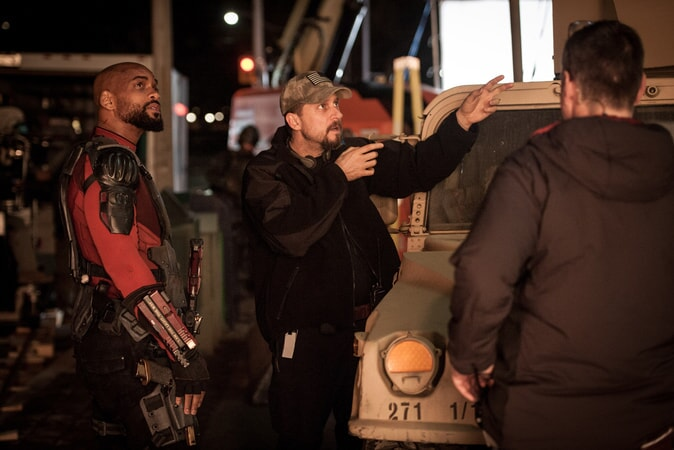 "WILL SMITH and writer/director DAVID AYER and on the set of Warner Bros. Pictures' action adventure ""SUICIDE SQUAD"""