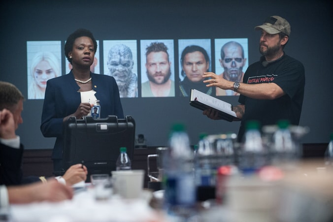 VIOLA DAVIS and writer/director DAVID AYER on the set