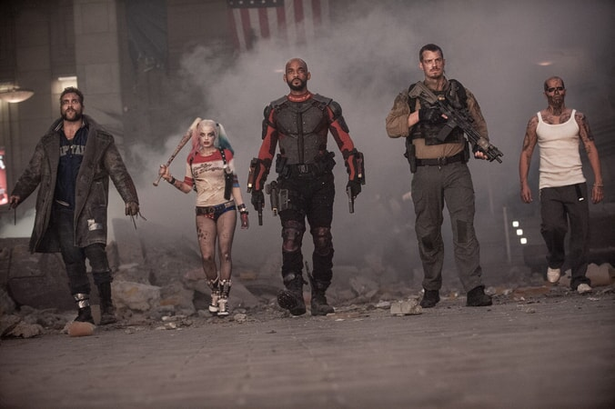 JAI COURTNEY as Boomerang, MARGOT ROBBIE as Harley Quinn, WILL SMITH as Deadshot, JOEL KINNAMAN as Rick Flag and JAY HERNANDEZ as Diablo