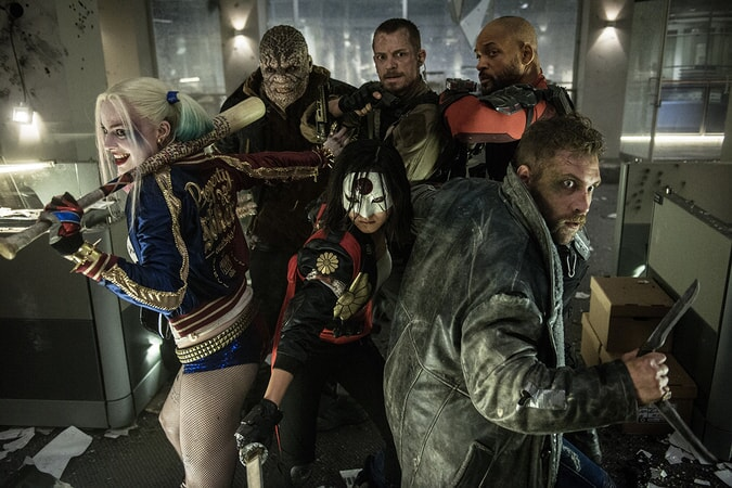 "MARGOT ROBBIE as Harley Quinn, ADEWALE AKINNUOYE-AGBAJE as Killer Croc, KAREN FUKUHARA as Kitana, JOEL KINNAMAN as Rick Flagg, JAI COURTNEY as Captain Boomerang and WILL SMITH as Deadshot in Warner Bros. Pictures' action adventure ""SUICIDE SQUAD,"" a Warner Bros. Pictures release."