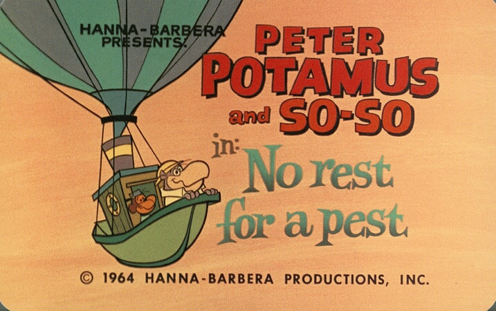 a title card to the peter potamus episode of no rest for a pest