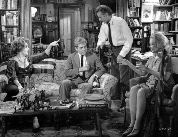 elizabeth taylor, george segal, richard burton and sandy dennis in who's afraid of virginia woolf