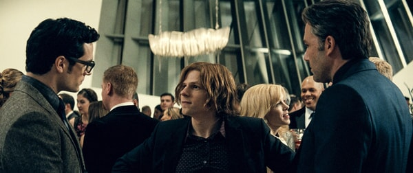 HENRY CAVILL as Clark Kent, JESSE EISENBERG as Lex Luthor and BEN AFFLECK as Bruce Wayne