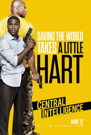 Central Intelligence poster: Kevin Hart in disheveled business clothes holding hand gun. Dwayne Johnson standing in profile behind him.