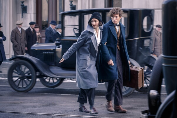 Eddie Redmayne as Newt Scamander and Katherine Waterston as Tina
