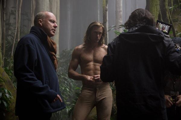 DAVID YATES (left) and ALEXANDER SKARSGÅRD (center) behind the scenes on the set