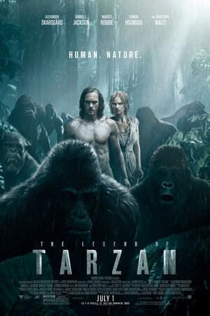 Legend of Tarzan: Alexander Skarsgård and Margot Robbie in jungle facing apes