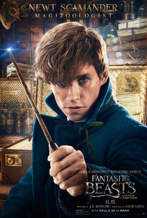 Fantastic Beasts and Where to Find Them character poster: Newt Scamander