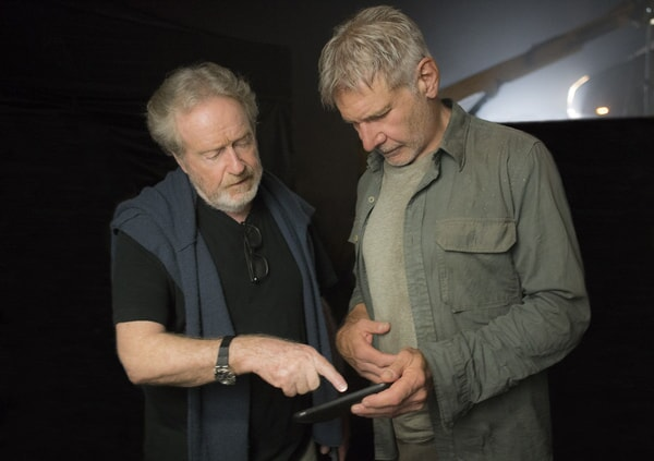 "Executive producer RIDLEY SCOTT and HARRISON FORD on the set of Alcon Entertainment's action thriller ""BLADE RUNNER 2049,"" a Warner Bros. Pictures and Sony Pictures Entertainment release, domestic distribution by Warner Bros. Pictures and international distribution by Sony Pictures."