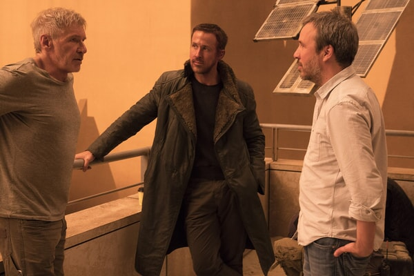 "HARRISON FORD, RYAN GOSLING and director DENIS VILLENEUVE on the set of Alcon Entertainment's action thriller ""BLADE RUNNER 2049,"" a Warner Bros. Pictures and Sony Pictures Entertainment release, domestic distribution by Warner Bros. Pictures and international distribution by Sony Pictures."