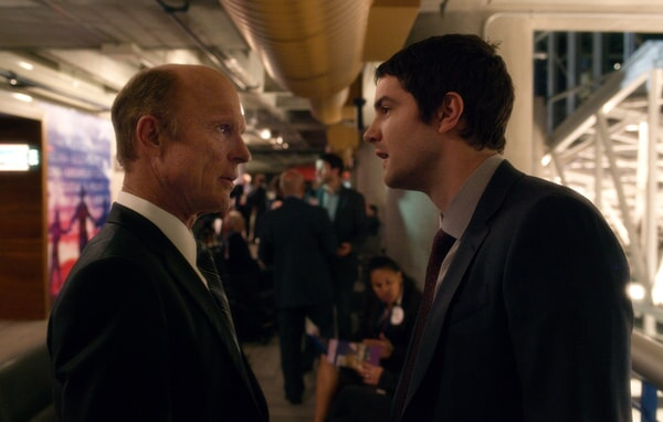 "ED HARRIS as Leonard Dekkom and JIM STURGESS as Max Lawson in Warner Bros. Pictures' and Skydance's suspense thriller ""GEOSTORM,"" a Warner Bros. Pictures release."