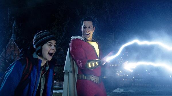 (L-r) JACK DYLAN GRAZER as Freddy Freeman and ZACHARY LEVI as Shazam