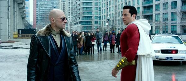 (L-r) MARK STRONG as Dr. Thaddeus Sivana and ZACHARY LEVI as Shazam
