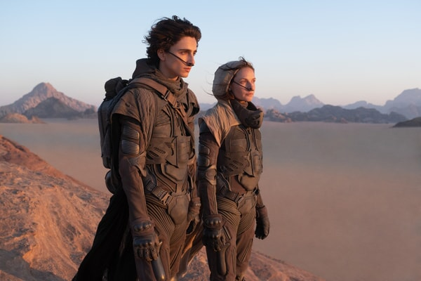 """TIMOTHÉE CHALAMET as Paul Atreides and REBECCA FERGUSON as Lady Jessica Atreides in Warner Bros. Pictures and Legendary Pictures' action adventure """"DUNE."""""""