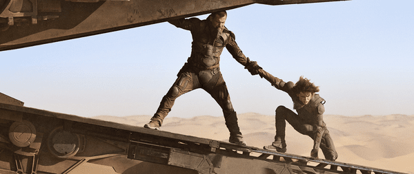 """(L-r) JOSH BROLIN as Gurney Halleck and TIMOTHÉE CHALAMET as Paul Atreides in Warner Bros. Pictures and Legendary Pictures' action adventure """"DUNE"""""""