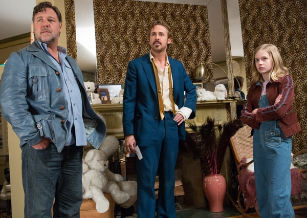 RUSSELL CROWE as Jackson Healy, RYAN GOSLING as Holland March and ANGOURIE RICE as Holly