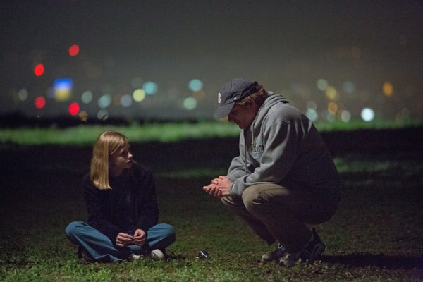 ANGOURIE RICE and writer/director SHANE BLACK on the set of The Nice Guys