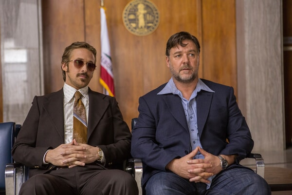 "RYAN GOSLING as Holland March and RUSSELL CROWE as Jackson Healy in the detective thriller ""THE NICE GUYS,"" a Silver Pictures production, a Warner Bros. Pictures release."
