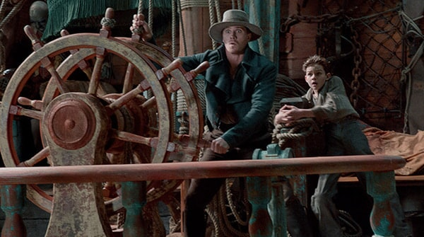 "GARRETT HEDLUND as Hook and LEVI MILLER as Peter in Warner Bros. Pictures' and RatPac-Dune Entertainment's action adventure ""PAN,"" a Warner Bros. Pictures release."