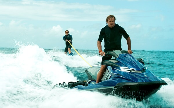 """LUKE BRACEY as Utah and LAIRD HAMILTON as Surf Vagabond in Alcon Entertainment's action thriller """"POINT BREAK,"""" a Warner Bros. Pictures release."""