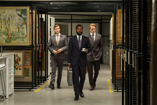 "(L-r) JACK CUTMORE-SCOTT, JOHN DAVID WASHINGTON and ROBERT PATTINSON in Warner Bros. Pictures' action epic ""TENET"""