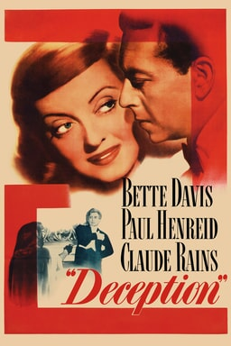 Deception keyart features Bette Davis and Paul Henreid with red background