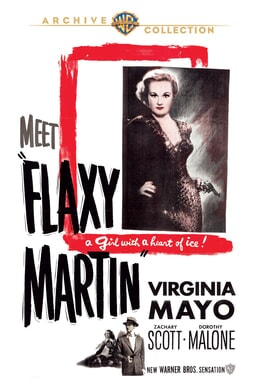 """Flaxy Martin: Virgina Mayo with a handgun with the quote """"a girl with a heart of ice!"""" underneath"""