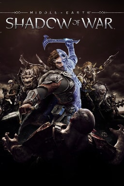 Characters from Middle-earth: Shadow of War wielding weapons against an enemy at bottom of artwork against a dark brown background