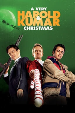 A Very Harold & Kumar Christmas - John Cho and Kal Penn green background
