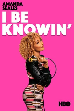 Amanda Seales: I Be Knowin' - Amanda Seales holding a mic posing on pink background