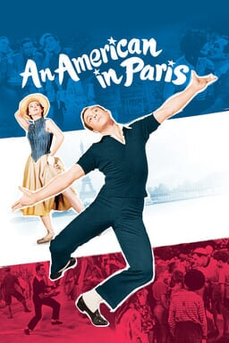 An American in Paris - Gene Kelly and Leslie Caron on cut out collage with scenes from movie behind
