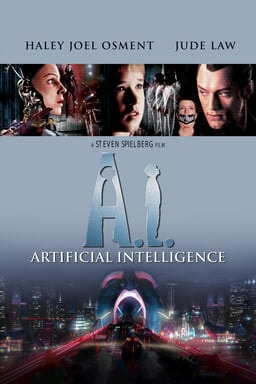 A.I. Artificial Intelligence - Jude Law, Haley Joel Osment in blu background and futuristic city