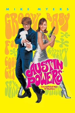 Austin Powers: International Man Of Mystery - Mike Myers as Austin Powers and Elizabeth Hurley as Vanessa Kensington in yellow background