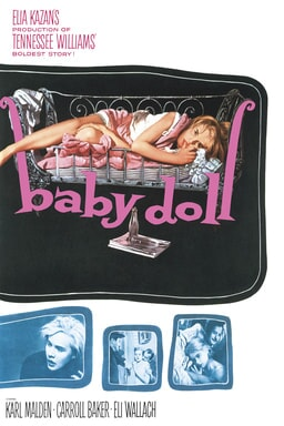 Baby Doll (1956) - Black background with Eli Wallach sucking thumb on bed and collage of pictures