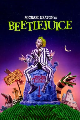 Beetlejuice - Michael Keaton sitting on tombstone with whimsical signs and house behind