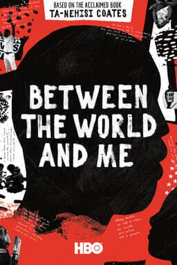 Between the World and Me - Black silhouette head with red collage background - Based on the book