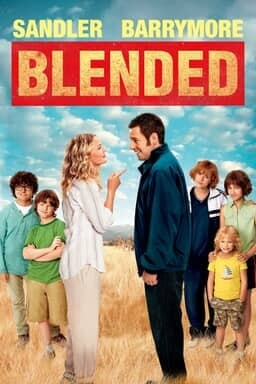 Blended - Drew Barrymore pointing a finger at Adam Sandler while he grins cheekily with kids on side