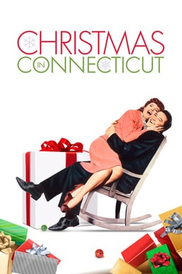 Christmas In Connecticut - Barbara Stanwyck and Dennis Morgan on rocking chair in white background