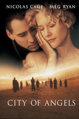 City Of Angels - Nicolas Cage and Meg Ryan in an intimate embrace with people spaced out in desert